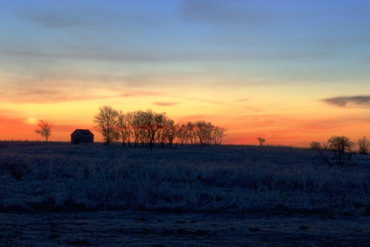 Property on Texas during a cold winter sunrise